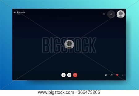 Video Call Illustration. Video Call Screen Mockup. Comunication Via Internet. Vector Illustration