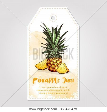 Label Or Sticker Design With Pineapple Illustration. Homemade Pineapple Jam. For Natural Or Organic