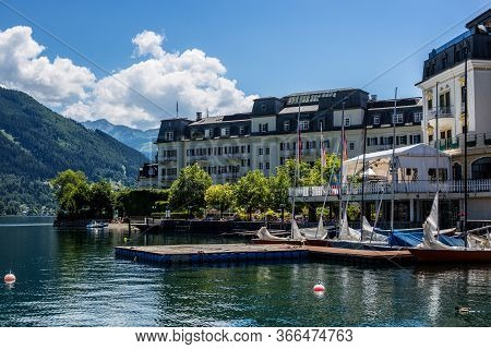 Zell Am See, Austria - June 20, 2018: View Of Grand Hotel And Zeller See On A Sunny Day