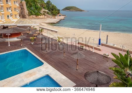Magaluf, Balearic Islands/spain; May/15/2020: Magaluf Promenade With The Beach, Swimming Pool And Ca