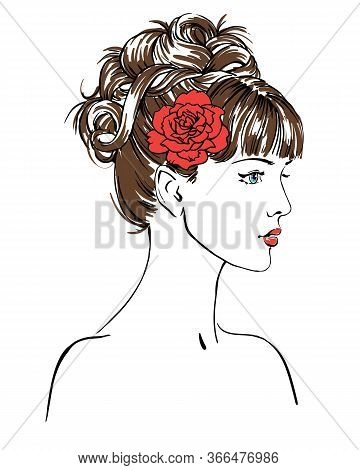Young Women With Red Flower In Profile, Hand Drawn Scetch Fashion Vector Illustration For Bridal Sho