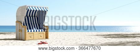 Empty beach chair on the beach of the Baltic Sea or North Sea in Germany as a summer vacation concept (3D Rendering)