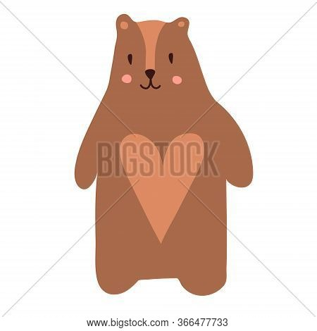 Cute Cartoon Teddy Bear. Vector Illustration In Scandinavian Style. T-shirts, Apparel Design Clothes