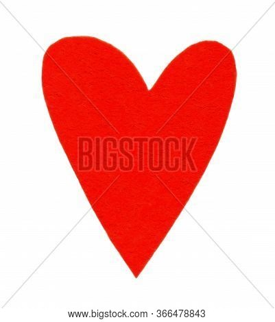 Textile Felt Red Heart. Item For Decoration, Greeting Cards, Packaging, Scene Creator, Other Design