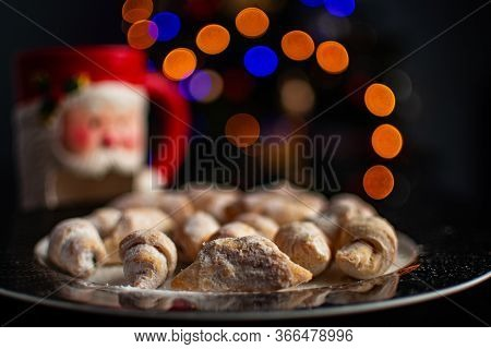 Stock Photo Of Romanian Traditional Christmas Pastry Dessert Pictured On A Plate With Sugar Decorati