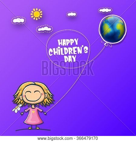 1 June International Childrens Day Background With Little Funny Girl Holding In Hands Baloon And Fly