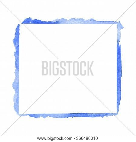Closeup Of Empty Painted Blue Square Watercolor Frame Design Element Isolated On White Background