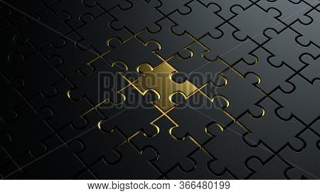 3d Illustration Of Puzzle Dark Black Pieces Background Texture With A Golden Metallic One In The Cen