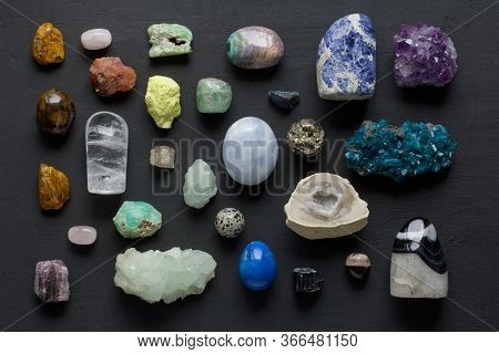 Beautiful Bright Multi-colored Collection Of Natural Stones And Minerals From Around World Lies On B