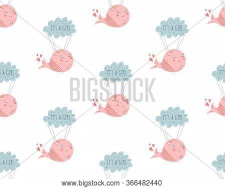 Pink Whale Pattern. Pink Baby Girl Pattern. Whales On Cloud Cute Background Baby Shower Invitation D