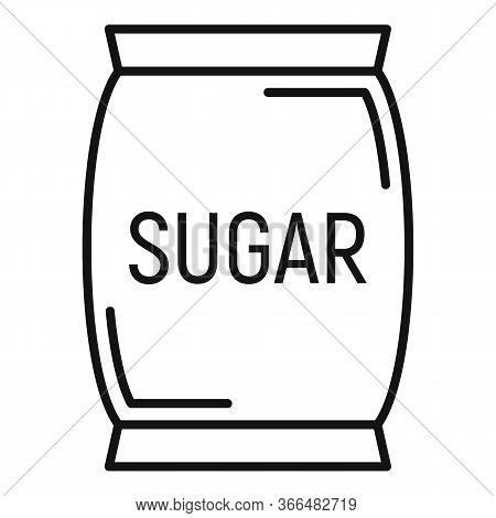 Sugar Textile Sack Icon. Outline Sugar Textile Sack Vector Icon For Web Design Isolated On White Bac