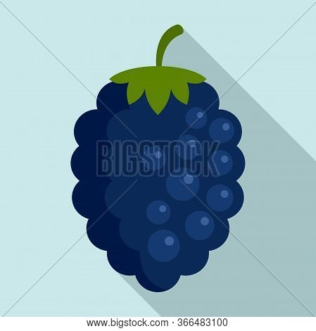 Natural Blackberry Icon. Flat Illustration Of Natural Blackberry Vector Icon For Web Design
