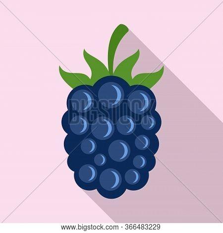 Garden Blackberry Icon. Flat Illustration Of Garden Blackberry Vector Icon For Web Design