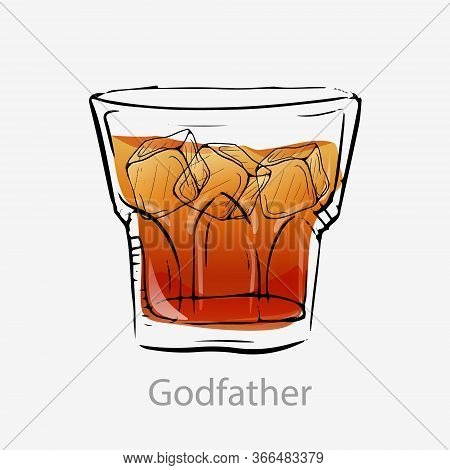 The Godfather Cocktail. Light Orange Cocktail Ice