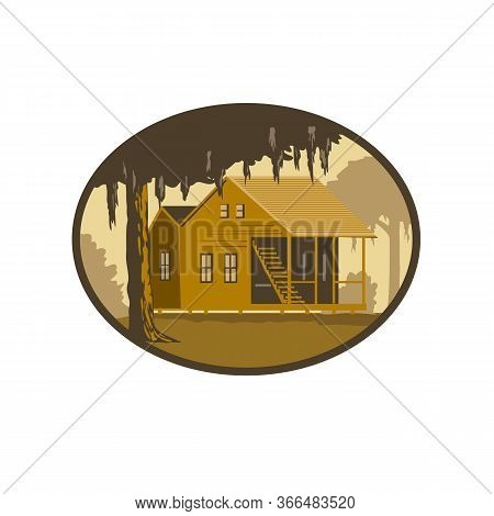 Retro Wpa Style Illustration Of A Typical Cajun House, A Country French Architecture Found In Louisi