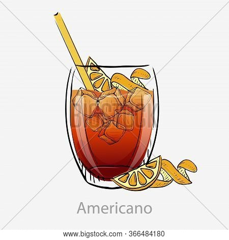 Americano Cocktail. Alcoholic Vermouth Aperitif Cocktail And