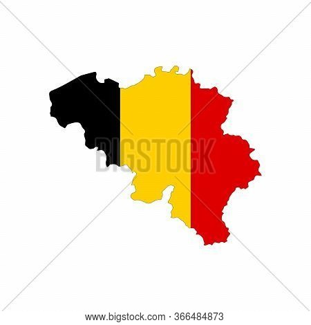 Map Of Belgium. Vector Design Isolated On White Background. Shape Of Belgium Map Filled Up With Belg
