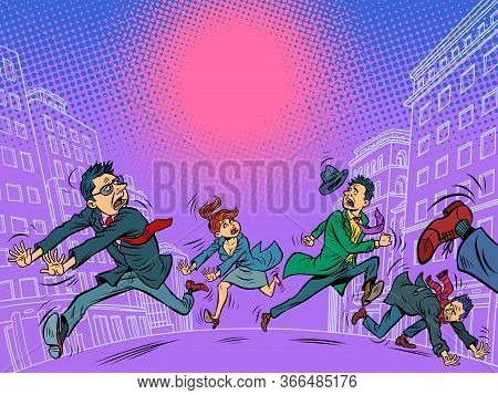 Panic People In The City Are Running. Comics Caricature Pop Art Retro Illustration Drawing