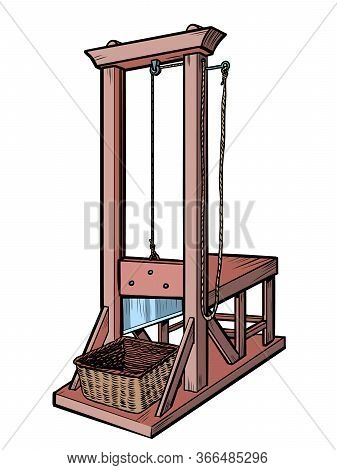 Guillotine. An Execution Weapon From The French Revolution. Comics Caricature Pop Art Retro Illustra