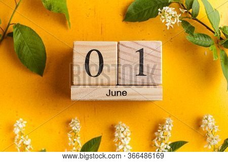 Calendar June 1 On A Yellow Background With Flowers. The Concept Of The Beginning Of Summer, Childre