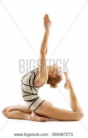 Woman Gymnast Doing Bending Stretching Exercise, Yoga Pilates Fitness Working Out On White, One Legg