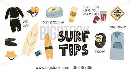 Surf Tips And Some Secrets, Useful Recommendations Set. Wet Suit And Spf Skincare Like Zinc And Suns