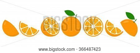 Orange Fresh Slices Set. Cut Oranges Fruit Slice For Lemonade Juice Or Vitamin C Logo. Citrus Icons