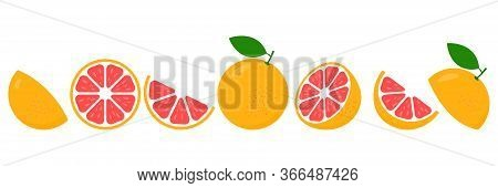 Grapefruit Fresh Slices Set. Cut Grapefruits Fruit Slice For Juice Or Vitamin C Logo. Citrus Icons V