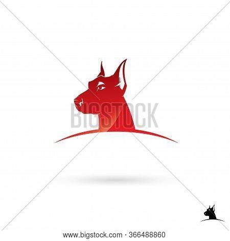 Doberman Dog Label - Vector Illustration - Vector