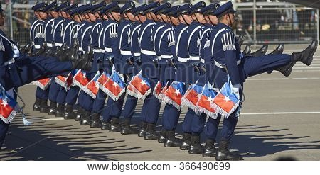 Santiago, Chile - September 19, 2016: Members Of The Chilean Air Force March Past During The Annual