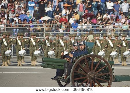 Santiago, Chile - September 19, 2016: Historic Unit Of The Chilean Army During The Annual Military P