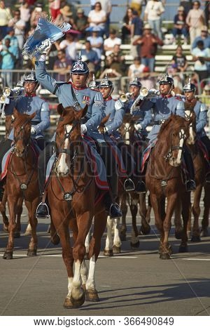 Santiago, Chile - September 19, 2016: Mounted Member Of The Chilean Army During The Annual Military