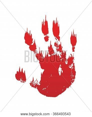 Bloody Hand Print Isolated White Background. Horror Scary Blood Dirty Handprint, Fingerprint. Red Pa