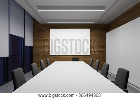 Interior Of Modern Meeting Room With White And Wooden Walls, Concrete Floor, Long Conference Table W