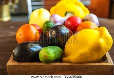 Fresh Ripe Vegetables Close-up. Abundance Of Farm Products And Copy Space.