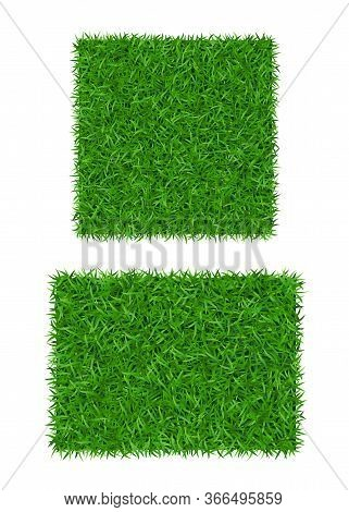 Green Grass Background 3d Set Isolated. Lawn Greenery Nature Field. Abstract Soccer Texture Frame, S