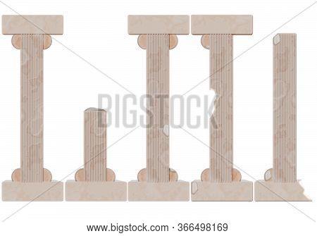 Ancient, Antique, Marble Chipped Columns. Greek Or Roman Columns.