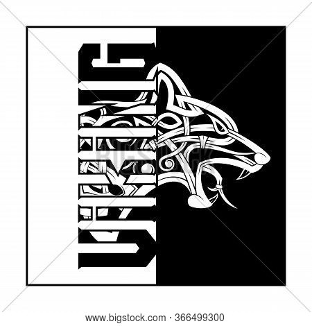 Fierce Wolf Symbol Of A Viking. Totemic Animal Of Celts. Poster In Nordic Style. Illustration Of Sca