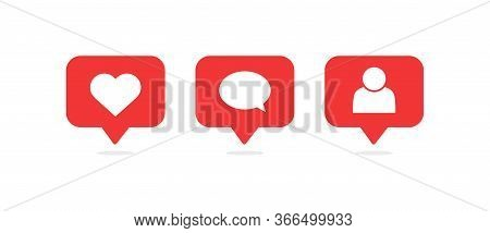 Social Media Notifications Icons. Like, Comment, Follow Icon. Vector Illustration