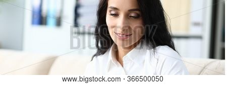 Portrait Of Smiling Businesswoman Having Coffee Break In Office. Biz Manager Holding Cup Of Tea And