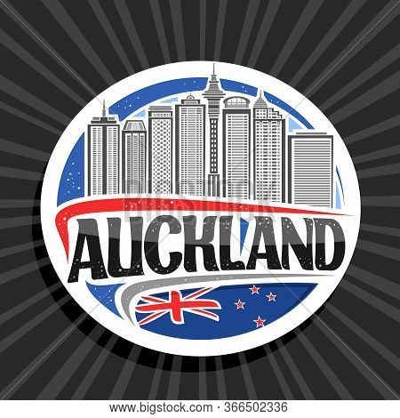Vector Logo For Auckland, White Decorative Round Tag With Line Illustration Of Auckland City Scape O