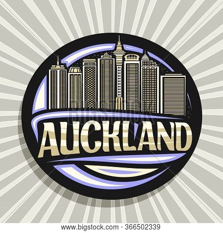 Vector Logo For Auckland, Black Decorative Round Sticker With Line Illustration Of Auckland City Sca