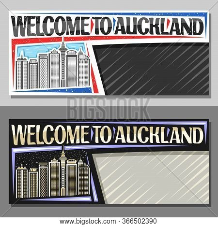 Vector Layouts For Auckland With Copy Space, Decorative Voucher With Illustration Of Famous Auckland