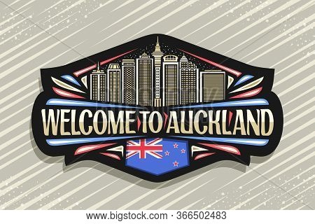 Vector Logo For Auckland, Black Decorative Sticker With Line Illustration Of Famous Auckland City Sc