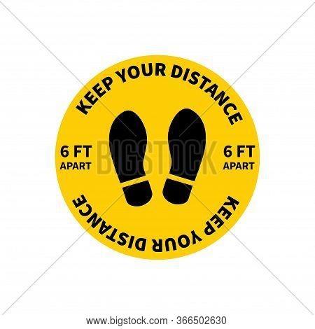 Social Distancing. Footprint Sign. Keep The 2 Meter Distance. Coronovirus Epidemic Protective. Vecto