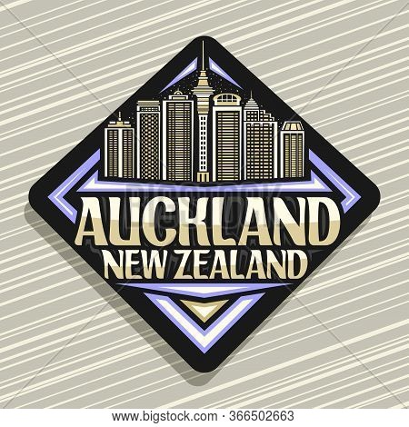 Vector Logo For Auckland, Black Decorative Road Sign With Illustration Of Famous Auckland City Scape