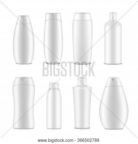 Shampoo Bottles And Packaging Set, Mockup For Merchandise