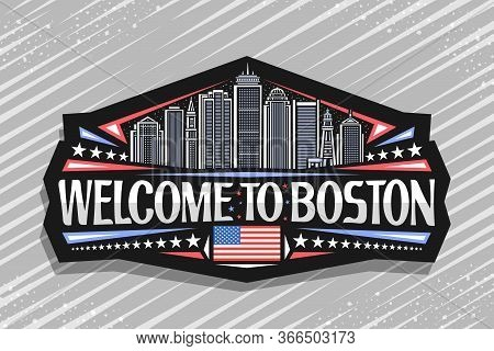 Vector Logo For Boston, Black Decorative Badge With Line Illustration Of Famous Boston City Scape On
