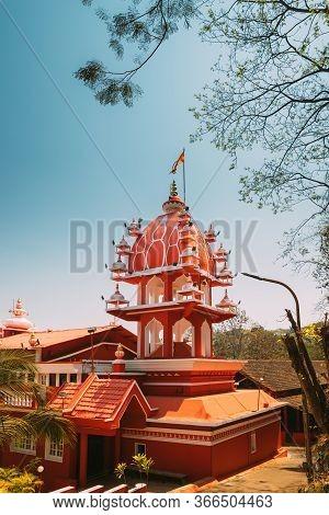 Panaji, Goa, India. Lamp Tower Of The Hindu Maruti Temple Or Hanuman Temple Is Located In Panjim. Bu
