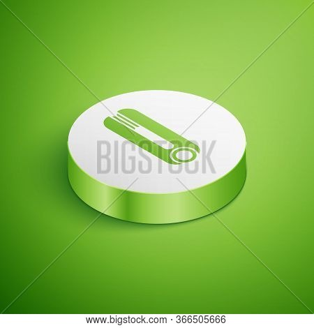 Isometric Curling Iron For Hair Icon Isolated On Green Background. Hair Straightener Icon. White Cir